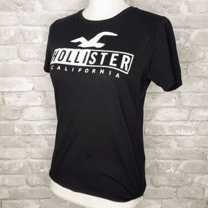 Hollister Black w/ White Logo Short Sleeve Tee - S